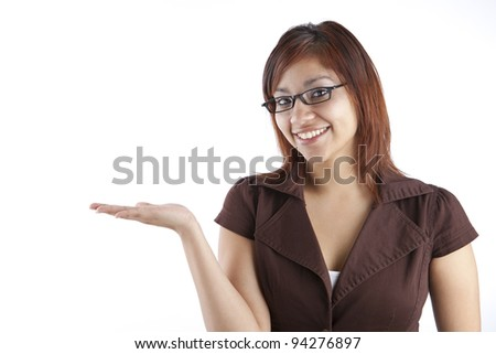 Hispanic Woman Holding Out Hand