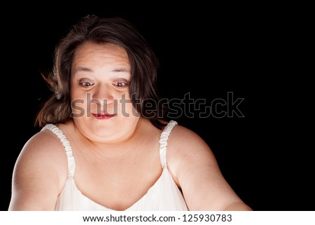hispanic woman with a surprised look on her face with space for custom text