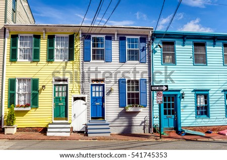 Historic Colourful Row Houses with Colourful Wooden Doors in Annapolis, MD