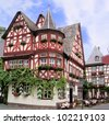 Historic half timbered houses of the Rhine village of Bacharach, Germany - stock photo