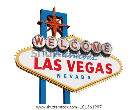 Historic Las Vegas Welcome sign isolated on white.