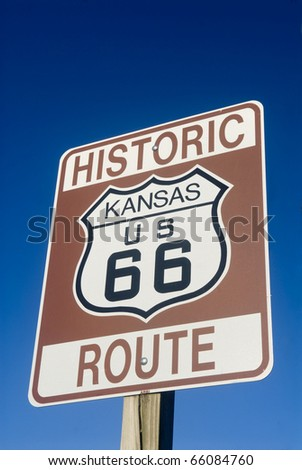 Historic Route 66 sign from the state of Kansas