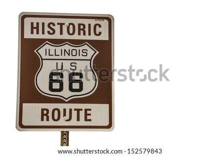 Historic Route 66 sign in brown, white, and black in Illinois on white background