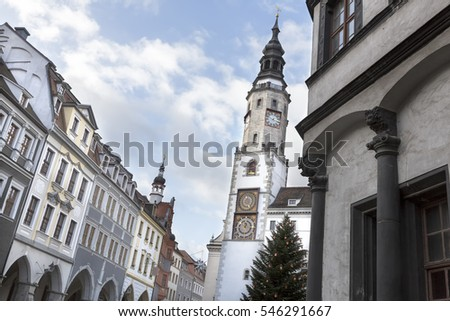 Historic town of Goerlitz, Germany, with town hall tower. The picturesque town of Goerlitz with many heritage protected buildings is situated right at the polish border.