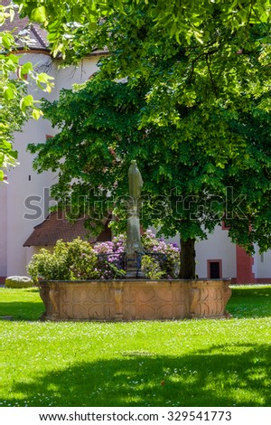 Historical fountain in the courtyard of the monastery Lichtenthal in Baden-Baden, Black Forest, Baden-Wurttemberg, Germany, Europe