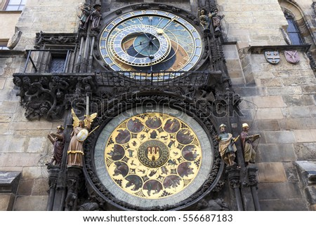 Historical medieval astronomical Clock in Prague on Old Town Hall , Czech Republic