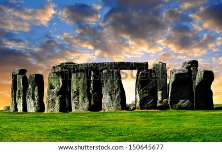 Historical monument Stonehenge in the sunset,England, UK - stock photo