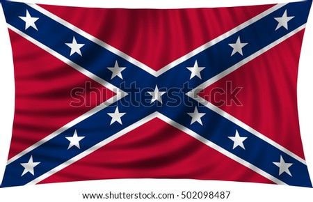 Historical national flag of the Confederate States of America. Known as Confederate Battle, Rebel, Southern Cross, Dixie flag. Flag of the CSA waving on white, illustration