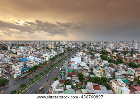 Ho Chi MInh City, Vietnam - July 07, 2016 :  Impression landscape of Ho Chi Minh city at sunset