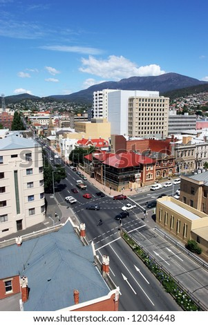 Hobart City looking towards Mount Wellington