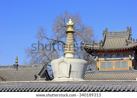 Hohhot City - February 5: Pagoda architectural landscape in the Five Pagoda Temple, on February 5, 2015, Hohhot city, Inner Mongolia autonomous region, China