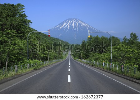 Hokkaido, the way which continues to Mt. Yotei