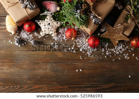 Holiday background with decorations, christmas