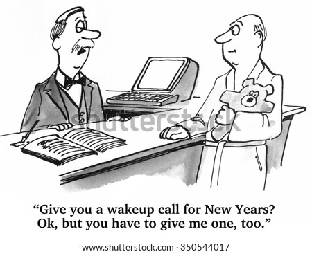 Holiday cartoon about New Year's Eve celebration and the next morning.