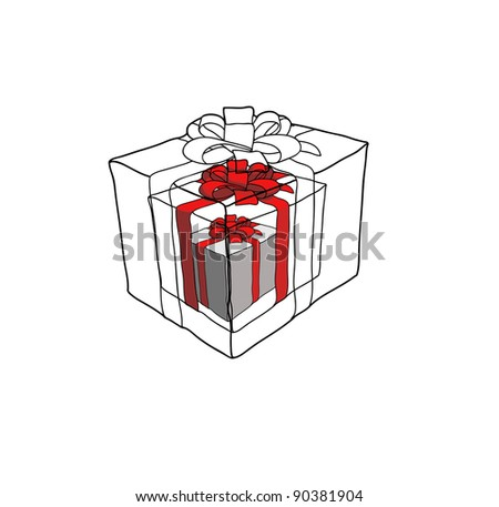 Holiday gift boxes decorated with red ribbon. Different gift boxes isolated on white background