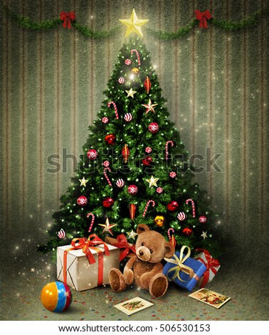 Holiday greeting card with  Christmas or New Year room with Christmas tree and gifts