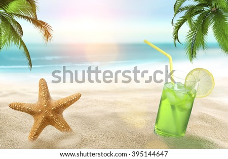Holiday with starfish and juice on the beach