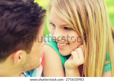 stock photo holidays vacation love and friendship concept smiling couple looking at each other in park 275610983 - Thoughts On Root Criteria For Russian Women For Marriage