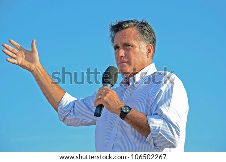 HOLLAND, MICHIGAN - JUNE 19: Mitt Romney campaign rally at Holland State Park, June 19, 2012 in Holland, Michigan.