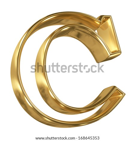 Hollow noble letter C with golden glossy outline