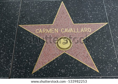 HOLLYWOOD, CA - DECEMBER 06: Carmen Cavallaro star on the Hollywood Walk of Fame in Hollywood, California on Dec. 6, 2016.