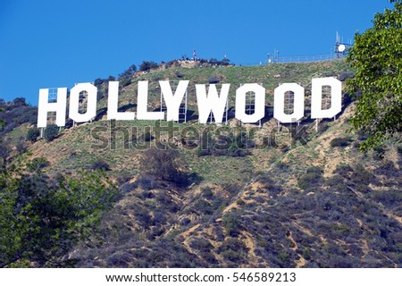 HOLLYWOOD/CALIFORNIA - JAN. 1, 2017: Hollywood Sign. World famous landmark and American cultural icon on Mount Lee in Hollywood Hills area of Santa Monica Mountains. Hollywood,