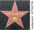 HOLLYWOOD - JUNE 26: Jack Nicholson's star on Hollywood Walk of Fame on June 26, 2012 in Hollywood, California. This star is located on Hollywood Blvd. and is one of 2400 celebrity stars. - stock photo