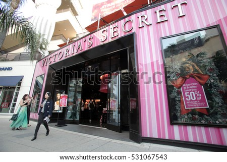 HOLLYWOOD - WEDNESDAY, NOVEMBER 16, 2016: Shoppers enter a Victoria's Secret in Hollywood, California.