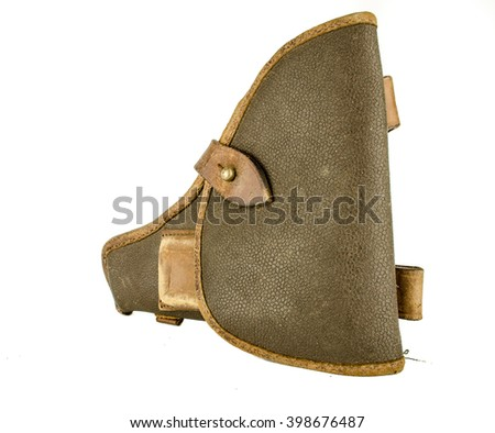 holster isolated on white background / Gun in a holster isolated on white  background / World War II Soviet officer equipment / military holster for gun isolated on the white background