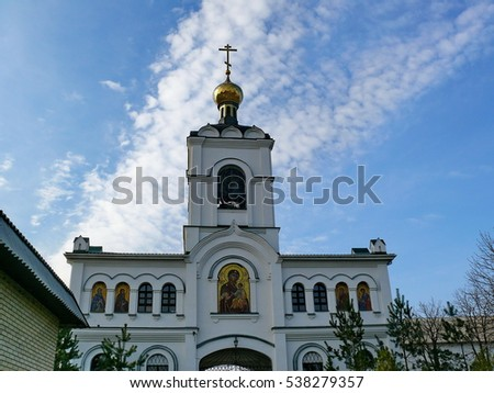 Holy Assumption Monastery, Russia - April 5, 2012: Monastery of the Holy Dormition, appearance of the monastery and the area near it.