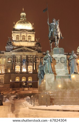 Holy Wenceslas on the Horse, Czech patron, on Wenceslas Square in the night, Prague, Czech Republic