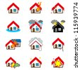 home and house insurance and risk icons - stock photo