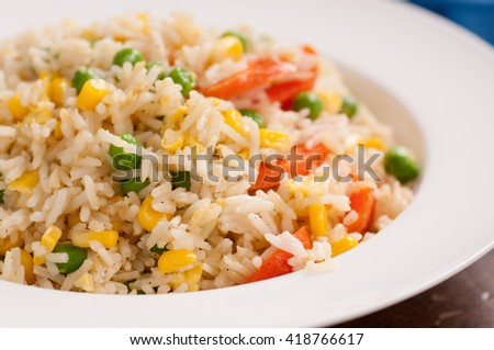 home made vegan or vegetarian vegetable fried rice