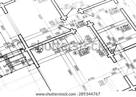 Closeup architectural blue print black white stock photo for Construction plan printing