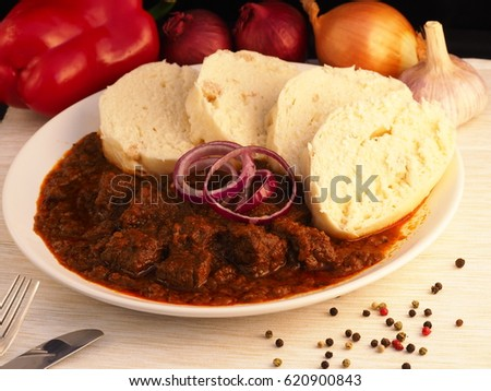 Homemade Beef Goulash With Dumplings Traditional Czech Slovak Hungary And Austria Food