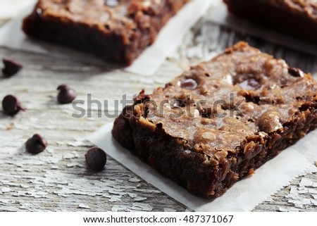 Homemade Brownies / Chewy Fudge Brownies, selective focus