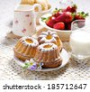 Homemade bundt cakes dusted with powdered sugar - stock photo