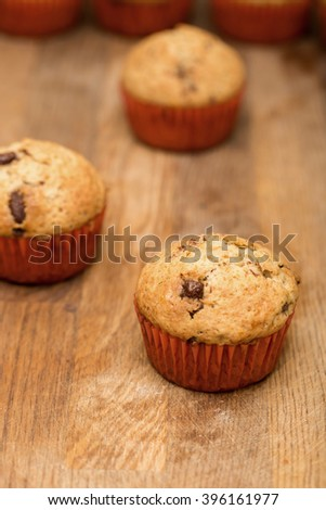 Homemade Chocolate Muffins Ready for Breakfast. Shallow depth of field.