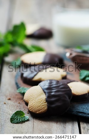 Homemade cookie with chocolate, selective focus