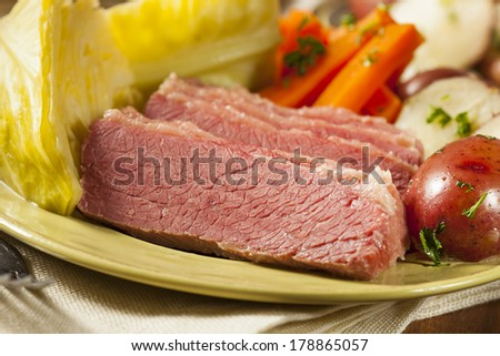 ... Corned Beef and Cabbage with Potatoes and Carrots - stock photo