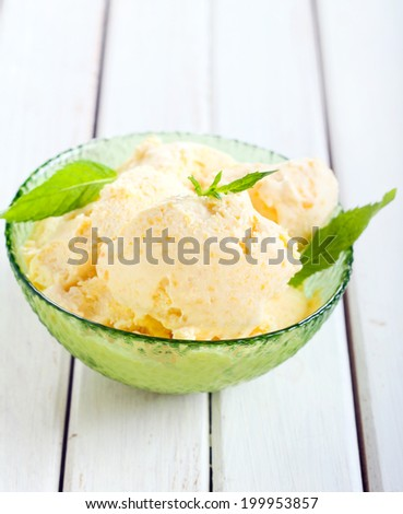 Homemade fruit ice cream in a bowl