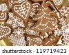 Homemade gingerbread cookies on a golden plate. - stock photo