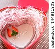 homemade heart shaped strawberry mousse with LOVE decoration for Valentines day image - stock photo