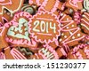 Homemade new year cookies with 2014 number - stock photo