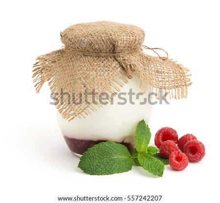 Homemade yogurt with fresh mint and raspberries