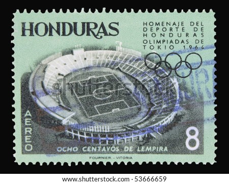 HONDURAS - CIRCA 1964: a stamp printed in Honduras showing olympic games stadion in Tokyo, circa 1964