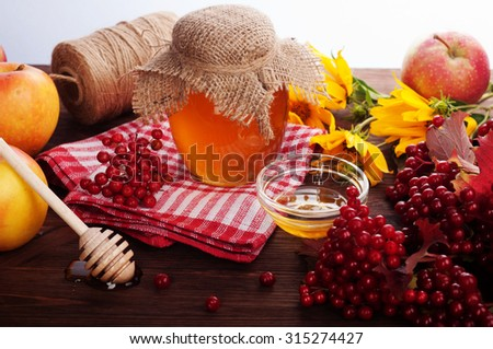 Honey bank on a dark wooden background; Spoon for honey; viburnum; flower honey; a source of health and longevity; beekeeping