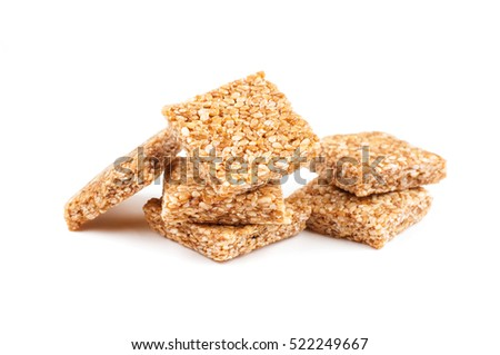 Honey bars with peanut on white background.