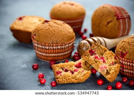 Honey muffins cakes with cranberries