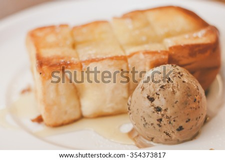 honey toast with mocha ice-cream and honey